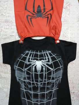 Remera Capa Spiderman Batman Superman