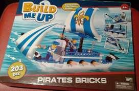 Barco pirata para armar build me up 203  bloques para niños