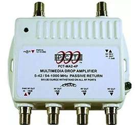 PCT 4-Port Bi-Directional Cable TV, OTA, Satellite HDTV Amplifier Splitter Signal Booster with Passive Return And Coax C