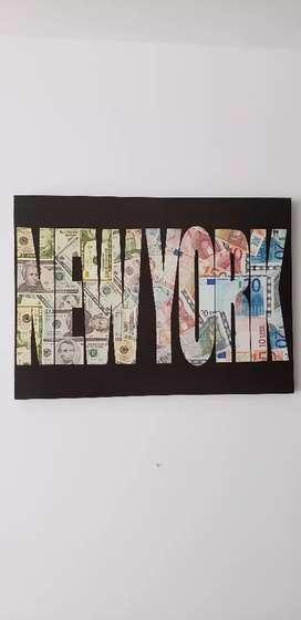 Cuadro moderno NEW YORK fondo divisas