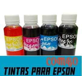 Combo Tinta para Epson para Sistema Continuo x100cm3 cada Color