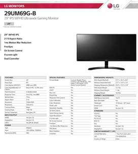 "Monitor LG Gaming Ultrawide de 29"""