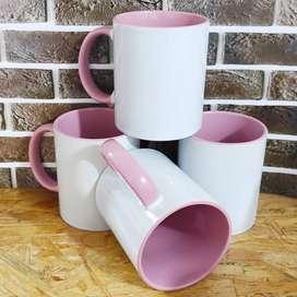 36 Mug color interno y oreja rosado para sublimación
