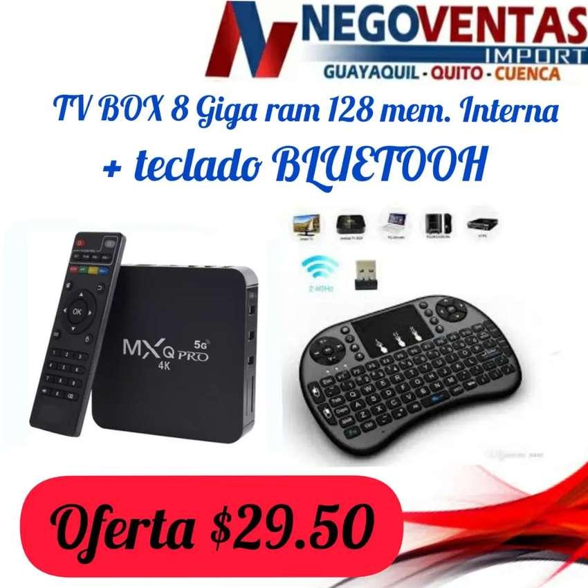 MEGA COMBO TV BOX MODELO MXQ DE 8GB + 128GB + MINI TECLADO INALÁMBRICO MEGA OGERTA ÚNICA DE NEGOVENTAS 0