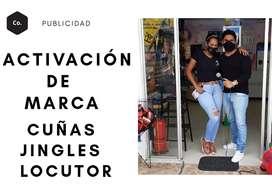 ACTIVACIÓN DE MARCA EVENTOS INAUGURACIÓN ANIVERSARIO LOCUTOR BAFLE GRABACIÓN CUÑAS JINGLES VOZ PUBLICIDAD PERIFONEO