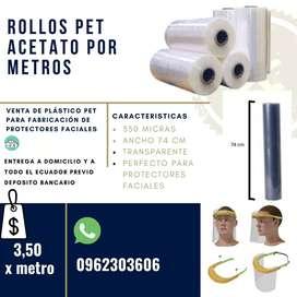 Plástico Pet Acetato X Metros 350 Micras. Protector Facial