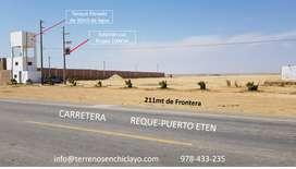 TERRENO de 13.62has Frente a Carretera RequePuerto Eten