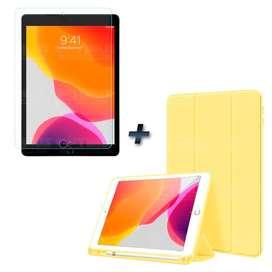 """Combo Estuche Case Funda de tapa con porta lápiz de goma con Vidrio Cristal MatteGlass efecto de papel para iPad 7 10.2"""""""