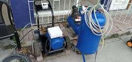 Hidrolavadora, compresor y tanque reservorio