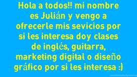 Clases o cursos de inglés, guitarra o marketing digital