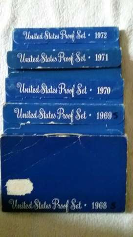 5 Proof Sets Usa de 1968 a 1972