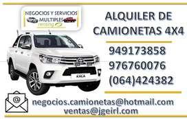 ALQUILER DE CAMIONETAS 4X4 EN HUANCAVELICA. ALQUILER DE VANS, COMBIS, CUSTER , CAMIONES EN HUANCAVELICA