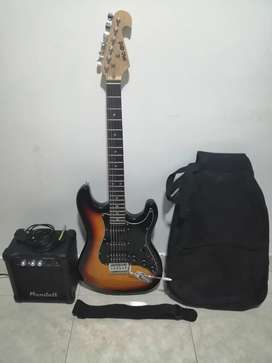 Guitarra electrica Stratocaster mc-art naranja