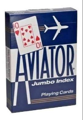 Naipes Aviator para Poker Jumbo Index 54 Cartas Azules Aviator Made in USA