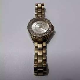 Reloj Dorado Le Falta 1 Aguja Pero Anda