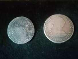 Dos Monedas Coloniales en Plata 8 Reales 1780 y 1786
