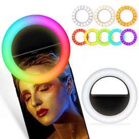 Anillo de luz LED RGB para selfis, con Clip para TikTok, Youtube, vídeos entre otros.