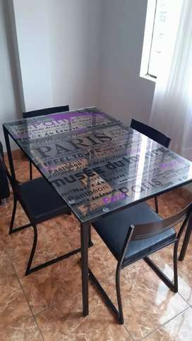 juego de comedor de metal 4 sillas