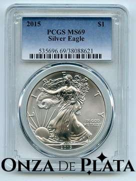 Moneda De Plata American Silver Eagle 2015 Certificada MS69
