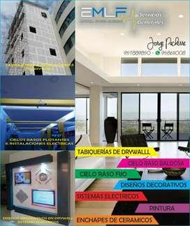 Drywall  - Cielos Rasos  - Electricidad - Soldadura - Techo de calaminon - Gasfiteria - Vidrios sist. Directo- Pintura.