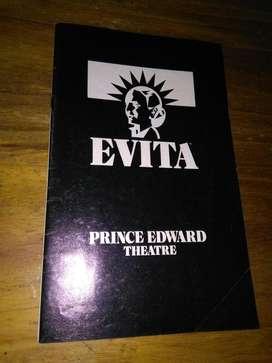 Programa Obra Teatral Evita 1979 Londres Prince Edward Theatre