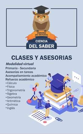 CLASES Y ASESORIAS PRIMARIA SECUNDARIA UNIVERSIDAD