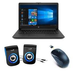 Combo Portatil HP 255 G7 AMD Athlon 4 GB 500 GB 15.6 Windows 10 Home + Parlante Genius SP-Q180 Azul + Mouse Genius NX-70