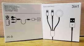 Cargador magnetico 3 en 1 para Apple Watch 1 mtr y 2 ligthing Zona Tribunales