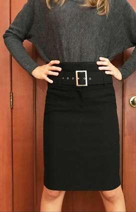 Elegante Falda Americana Negra Nueva Con Cinturon Ancho $38