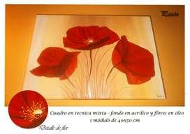 Cuadros Decorativos en Oleo Acrilico Polipticos Florales Artisticos
