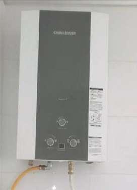 Calentador a gas 6 litros challenger + tubos de salida+ kit de armado