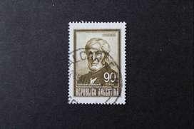 ESTAMPILLA ARGENTINA, 1969, GUILLERMO BROWN (1777-1857) COLOR OLIVA MARRÓN, VALOR 90 PESOS MN, USADA