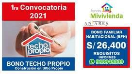 CONVOCATORIA BONO TECHO PROPIO, CONSTRUCCIÓN EN SITIO PROPIO
