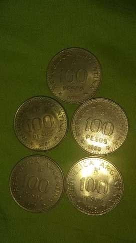 Monedas antiguos de $100 1978 a 1981