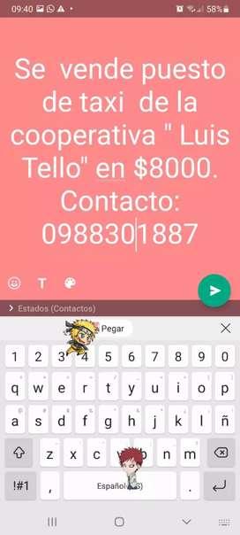 Venta de Puesto de Taxi Esmeraldas Coop .:Luis Tello
