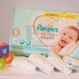Pañales Pampers Premium Care todos los talles
