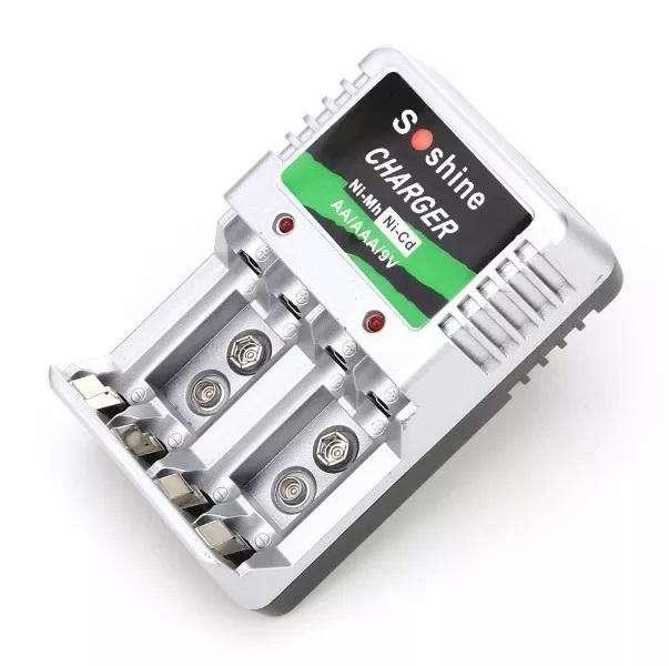 Cargador Pilas Multifuncional Soshine AA-AA-9v 0