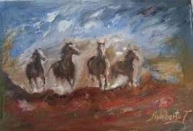 Cuatro caballos galopando Cuadro al Óleo