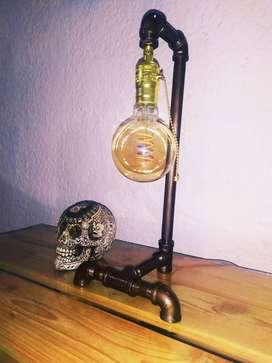 Lámpara De Hierro Mesa Decoración Rústica Vintage Antigua