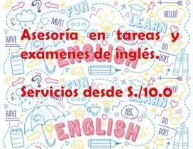 Asesoría en trabajos y exámenes de Inglés