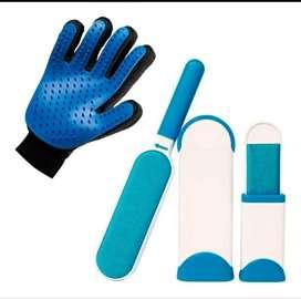 Kit para mascota  quita pelusa + guante para peinar