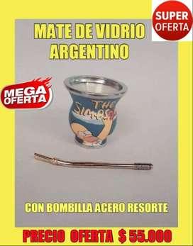 "SUPER OFERTA! MATE ARGENTINO DE VIDRIO FORRADO EN ECOCUERO "" DISEÑO SIMPSON"" con BOMBILLA ACERO RESORTE!"