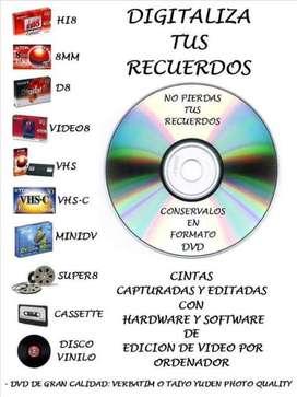 Digitalizacion de VHS a DVD o pendrive en Rosario