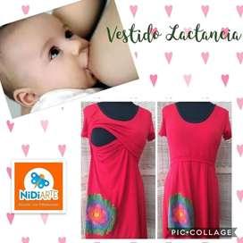 Vestido de lactancia manga corta Maternal amamantar