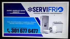 Servicio de reparaciónes técnico en neveras lavadoras aires acondicionado estufas congeladores