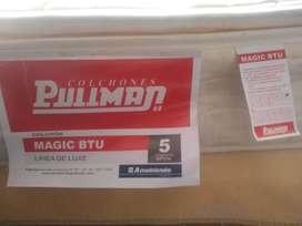 Colchón cama doble marca Pullman Mágic BTU ortopédico incluye base cama