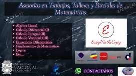Asesorías en Trabajos, Talleres y Parciales de Matemáticas: Cálculo, Ecuaciones, Álgebra