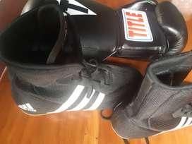 Guantes y botas para boxeo