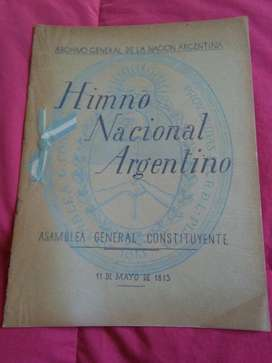 Himno Nacional Argentino . Archivo General de la Nacion 1947 . Facsimil letra 1813