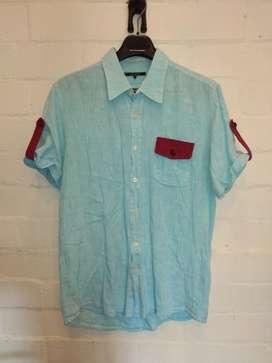 Camisa Lino Hombre Azulu Talla M
